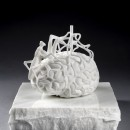 Jan Fabre | The scientist's brain measuring his own mirror neurons, 2014 | White Carrara marble | 18 x 21,2 x 15,2 cm / Base 6 x 27 x 27 cm | Photographer Pat Verbruggen | Copyright Angelos bvba