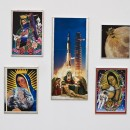 Aleksandra Mir | Peace on Earth | 2008-09 collages on board with gold leaf frames, Polyptych: 5 elements, dimension variable