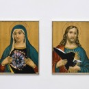 Aleksandra Mir | Holy Hearts | 2009 collages on board with gold leaf frames, Diptych: 43,5 x 33,5 cm / 43 x 33 cm