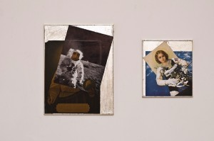 Aleksandra Mir | I will Bless the Houses Wherein | 2009, collages collages on board with gold leaf frames, diptych: 50 x 38,5 cm / 31,5 x 28 cm