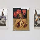 Aleksandra Mir | Regina Angelorum | 2009, collages on board with gold leaf frames, three elements, dimension variable