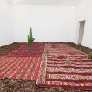 Fiamma Montezemolo | The Three Ecologies | 2015 |  kilim, 8 cactus, bark Environmental dimensions | Installation View  at Magazzino, Roma 2015.