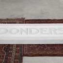 Domenico Mangano & Marieke van Rooy |  Donders, the Eternal Stone | 2017 |  Carrara Marble, Persian rugs and sound installation (1'18'') |  180 x 50 x 12,5 cm | Installation view at Nomas Fondation, Rome