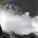 Jan Fabre | Northern Slope, Malung La (Tibet) |1989 |From the series / dalla serie: Mountain tops Ballpoint pen on black-and-white photo | 20 x 29 cm / framed 42,5 x 53 cm