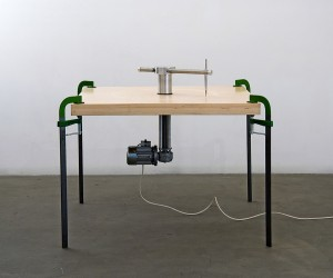 Elisabetta Benassi | Senza Titolo (La vie à credit), 2006 | Wood, iron, steel, aluminium, electrical engine, motor reducer, clamps, electric wires | 75 x 100 x 100 cm